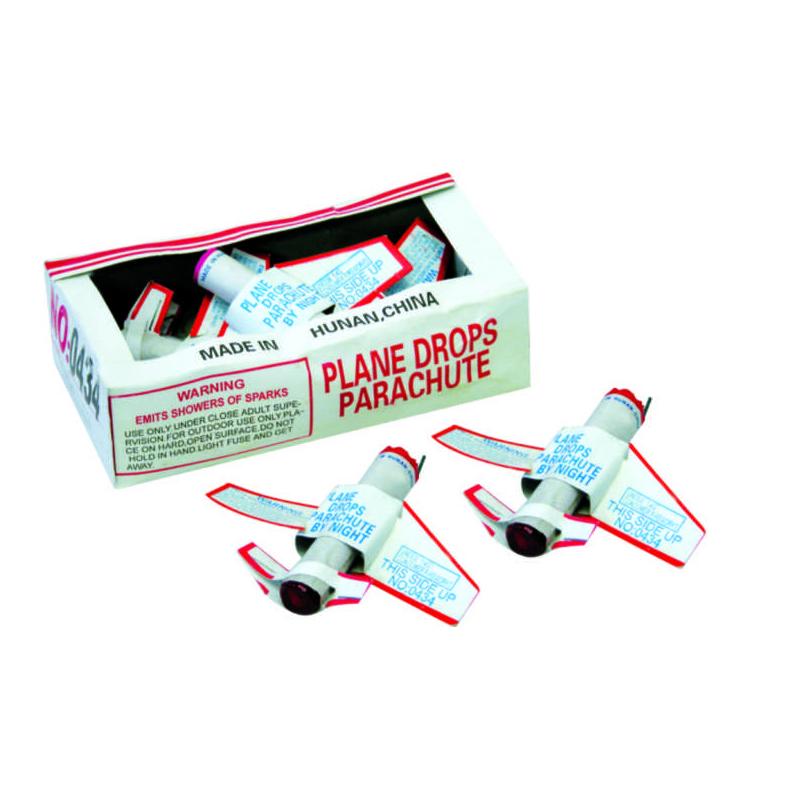 Plane Drops Parachute Fireworks