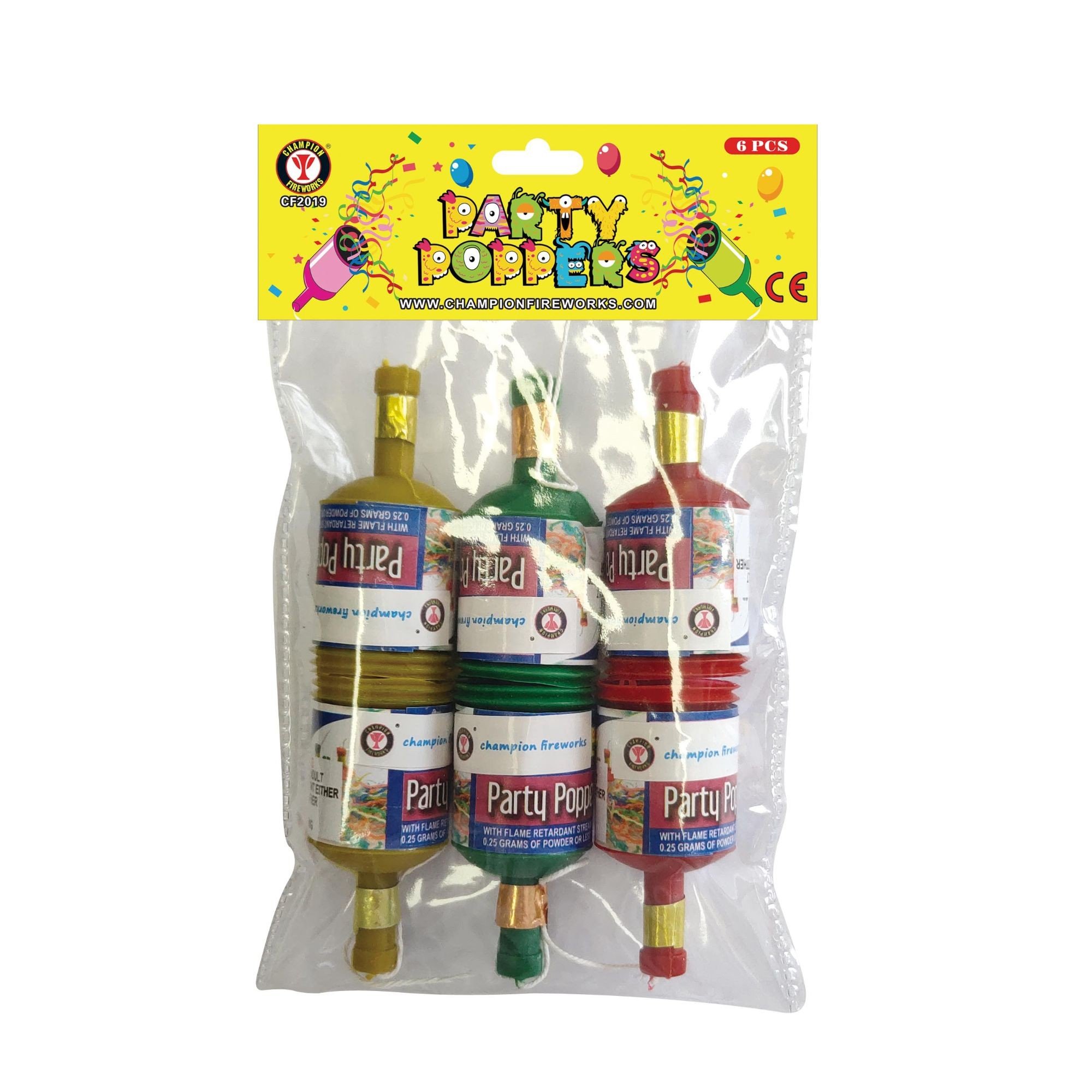Party Poppers Fireworks 6PK
